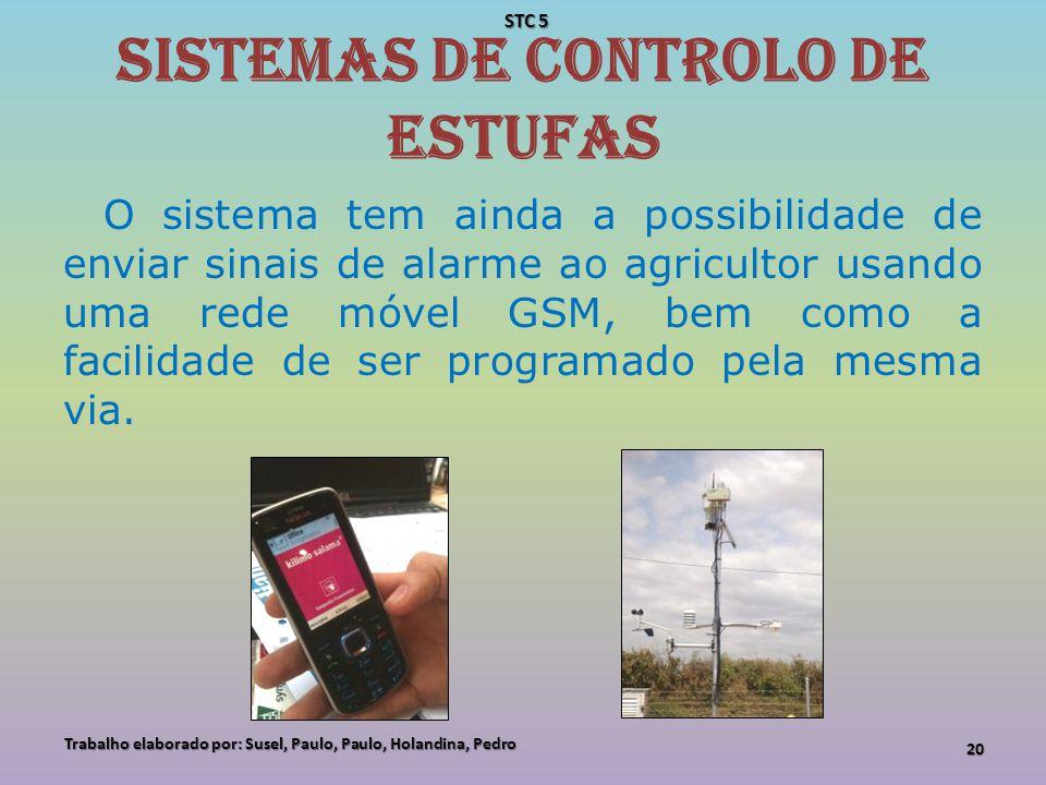 Sistemas de controlo de estufas O sistema tem ainda a possibilidade de enviar sinais de alarme ao agricultor usando uma rede móvel GSM, bem como a fac