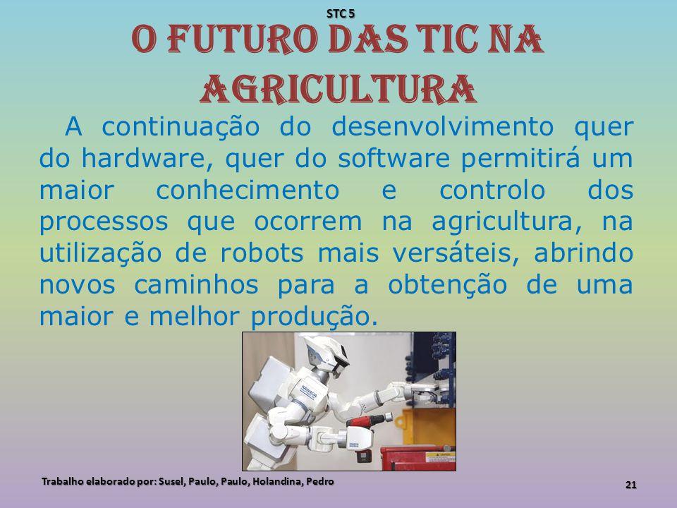 O futuro das TIC na agricultura A continuação do desenvolvimento quer do hardware, quer do software permitirá um maior conhecimento e controlo dos pro