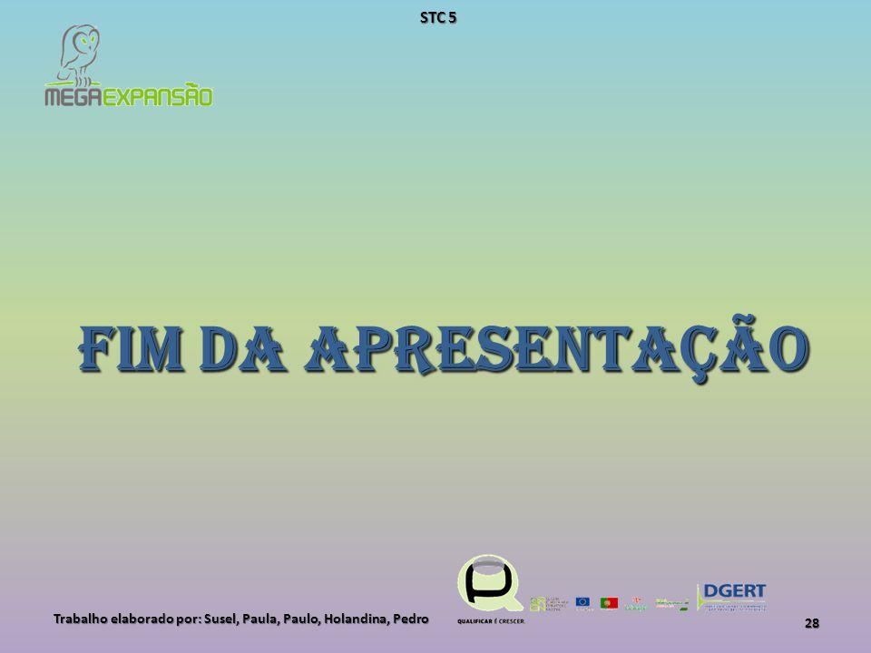 Fim da Apresentação Trabalho elaborado por: Susel, Paula, Paulo, Holandina, Pedro 28 STC 5