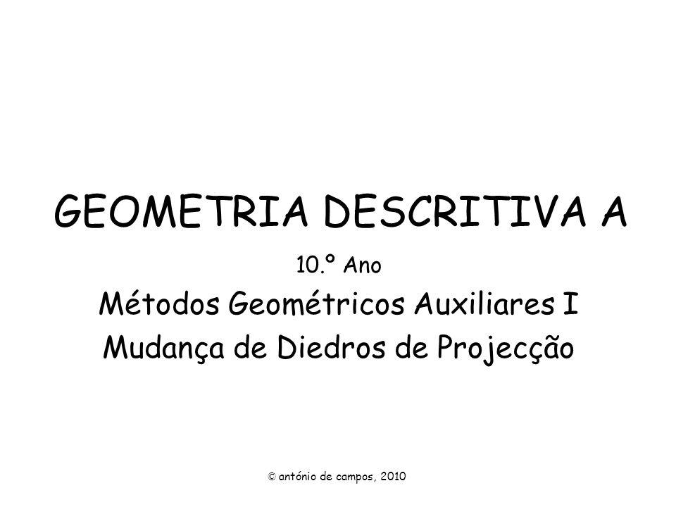 GEOMETRIA DESCRITIVA A 10.º Ano Métodos Geométricos Auxiliares I Mudança de Diedros de Projecção © antónio de campos, 2010