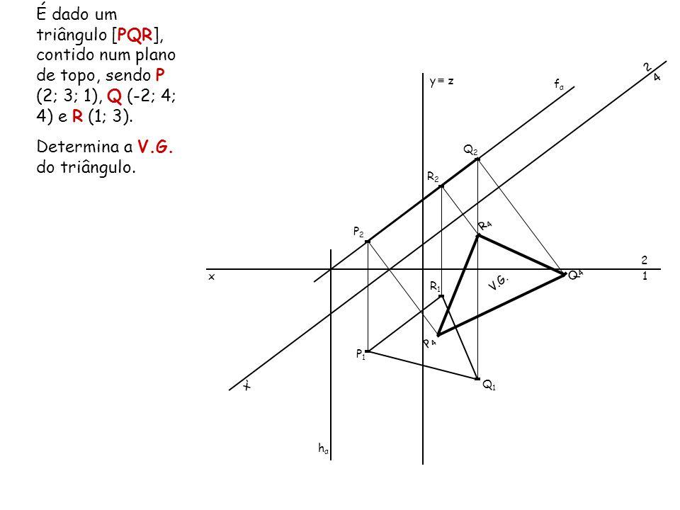 É dado um triângulo [PQR], contido num plano de topo, sendo P (2; 3; 1), Q (-2; 4; 4) e R (1; 3). Determina a V.G. do triângulo. x 2 1 y z P1P1 P2P2 Q