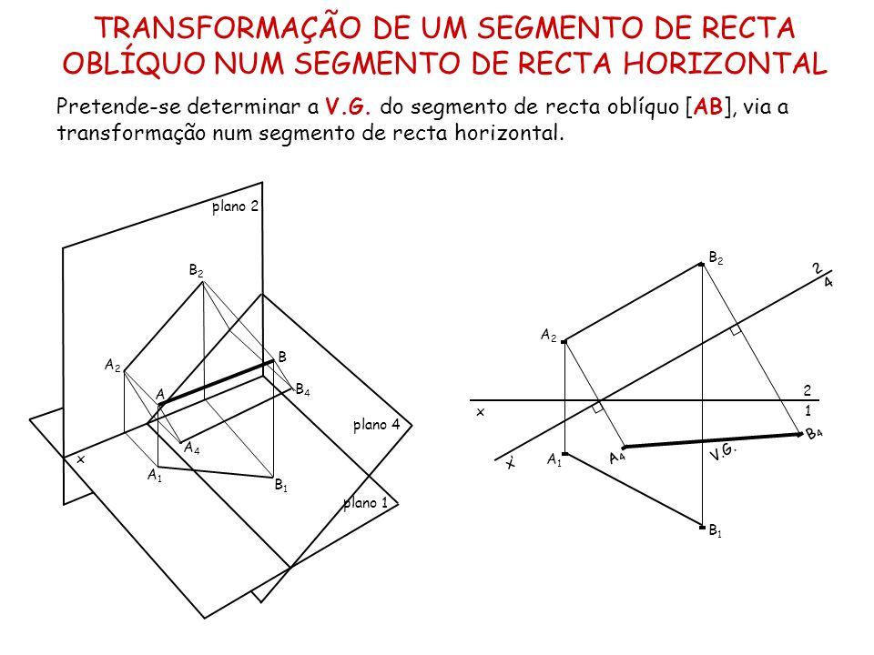 TRANSFORMAÇÃO DE UM SEGMENTO DE RECTA OBLÍQUO NUM SEGMENTO DE RECTA FRONTAL Pretende-se determinar a V.G.