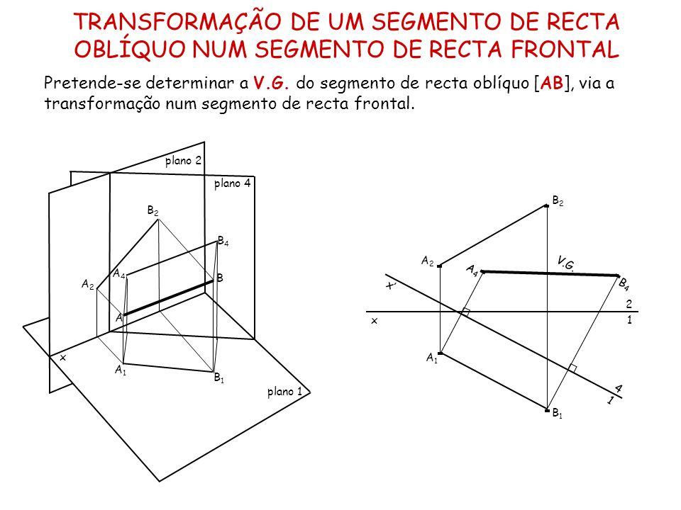 TRANSFORMAÇÃO DE UM SEGMENTO DE RECTA OBLÍQUO NUM SEGMENTO DE RECTA FRONTAL Pretende-se determinar a V.G. do segmento de recta oblíquo [AB], via a tra