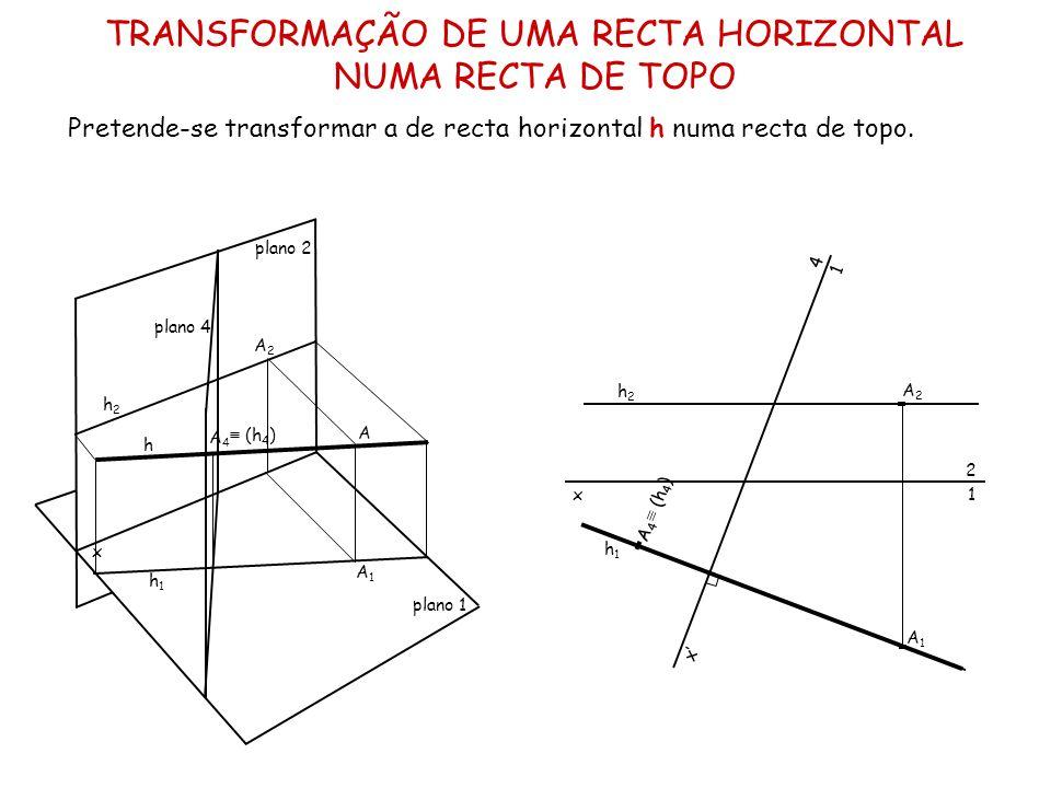 TRANSFORMAÇÃO DE UMA RECTA HORIZONTAL NUMA RECTA DE TOPO Pretende-se transformar a de recta horizontal h numa recta de topo. x plano 2 plano 1 A A2A2