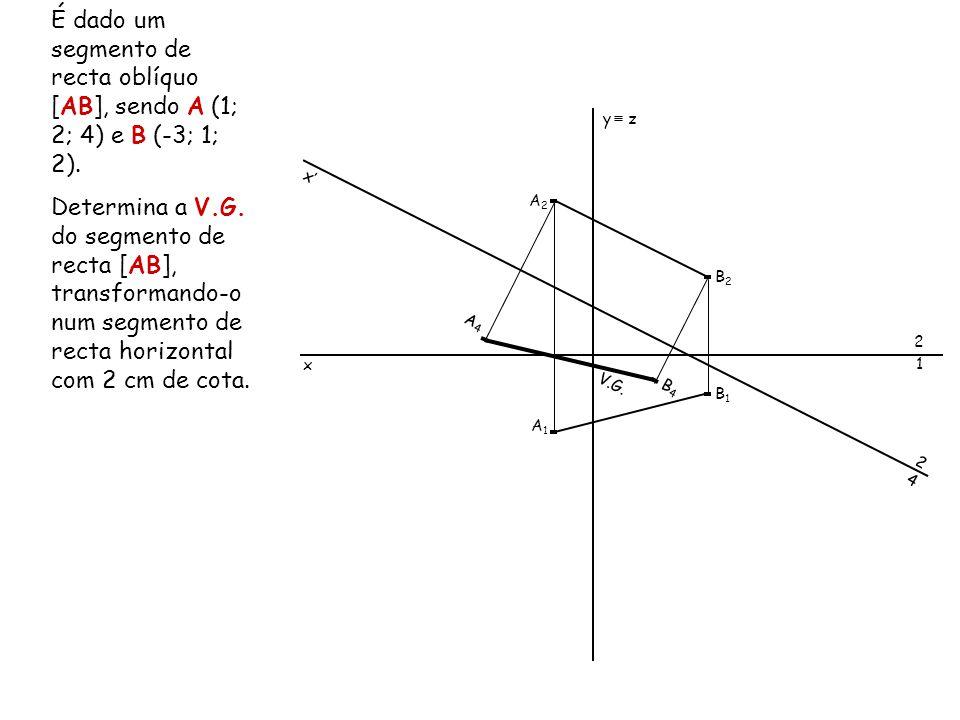 É dado um segmento de recta oblíquo [AB], sendo A (1; 2; 4) e B (-3; 1; 2). Determina a V.G. do segmento de recta [AB], transformando-o num segmento d