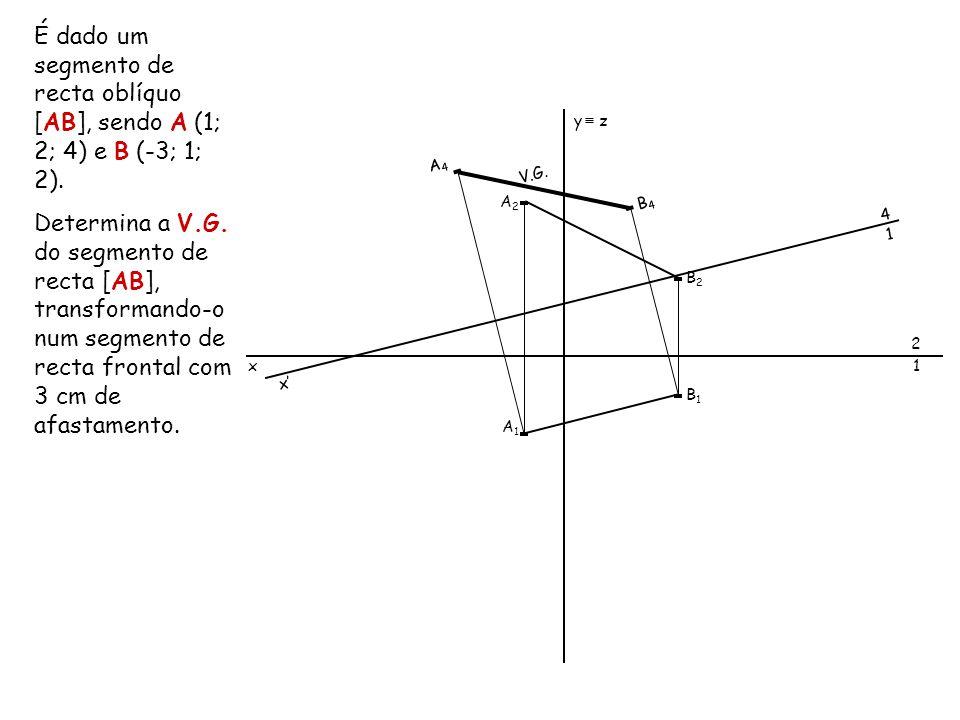 É dada uma recta frontal f, que passa pelo ponto A (2; 3) e faz um ângulo de 30º (a.d.) com o Plano Horizontal de Projecção.
