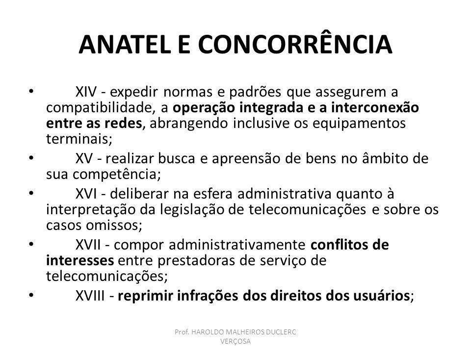 ANATEL E CONCORRÊNCIA XIV - expedir normas e padrões que assegurem a compatibilidade, a operação integrada e a interconexão entre as redes, abrangendo