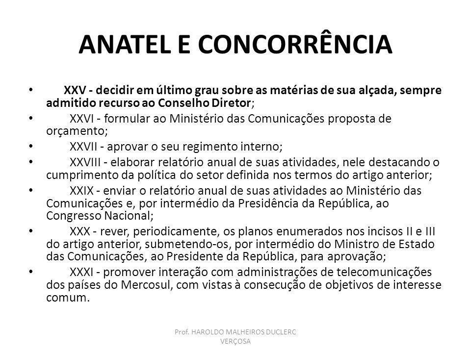 ANATEL E CONCORRÊNCIA XXV - decidir em último grau sobre as matérias de sua alçada, sempre admitido recurso ao Conselho Diretor; XXVI - formular ao Mi