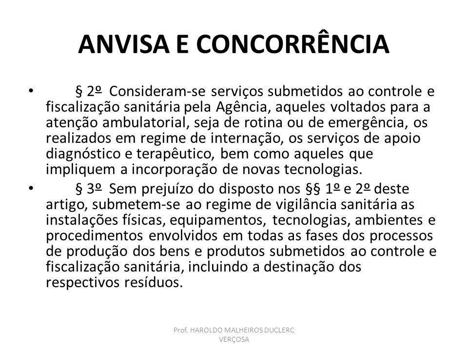 ANVISA E CONCORRÊNCIA § 2º Consideram-se serviços submetidos ao controle e fiscalização sanitária pela Agência, aqueles voltados para a atenção ambula