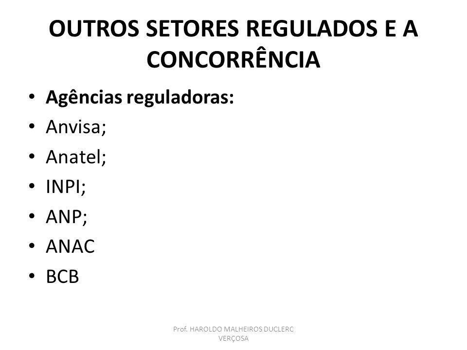 OUTROS SETORES REGULADOS E A CONCORRÊNCIA Agências reguladoras: Anvisa; Anatel; INPI; ANP; ANAC BCB Prof. HAROLDO MALHEIROS DUCLERC VERÇOSA