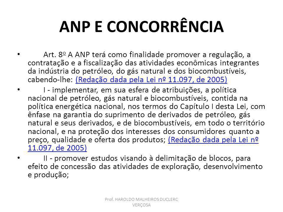 ANP E CONCORRÊNCIA Art. 8 o A ANP terá como finalidade promover a regulação, a contratação e a fiscalização das atividades econômicas integrantes da i