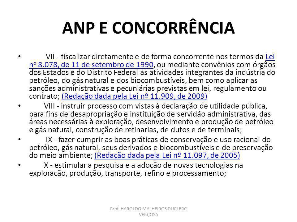 ANP E CONCORRÊNCIA VII - fiscalizar diretamente e de forma concorrente nos termos da Lei n o 8.078, de 11 de setembro de 1990, ou mediante convênios c