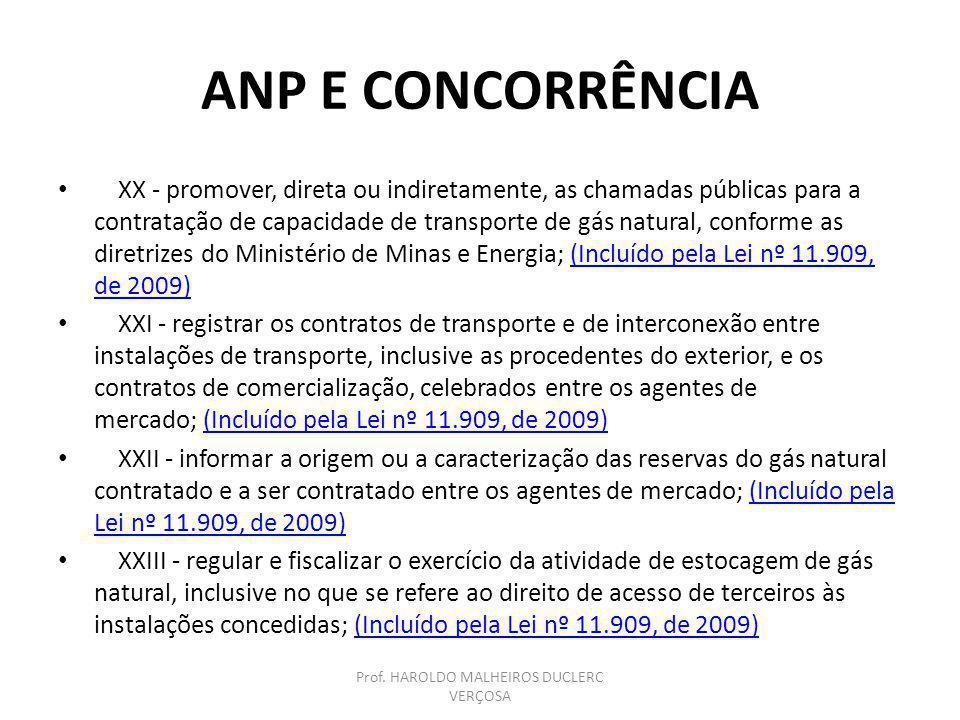 ANP E CONCORRÊNCIA XX - promover, direta ou indiretamente, as chamadas públicas para a contratação de capacidade de transporte de gás natural, conform