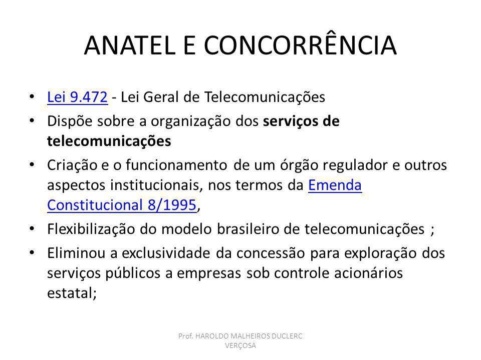 ANATEL E CONCORRÊNCIA Lei 9.472 - Lei Geral de Telecomunicações Lei 9.472 Dispõe sobre a organização dos serviços de telecomunicações Criação e o func