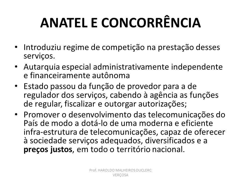 ANATEL E CONCORRÊNCIA Introduziu regime de competição na prestação desses serviços. Autarquia especial administrativamente independente e financeirame