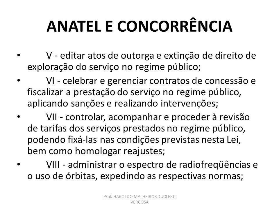 ANATEL E CONCORRÊNCIA V - editar atos de outorga e extinção de direito de exploração do serviço no regime público; VI - celebrar e gerenciar contratos