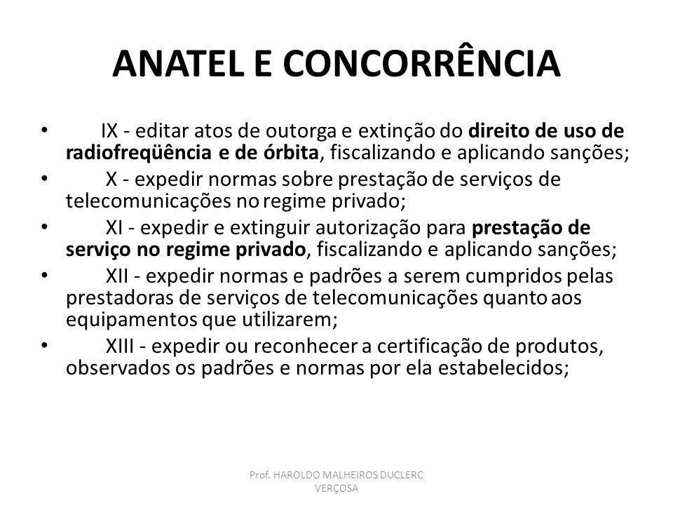 ANATEL E CONCORRÊNCIA IX - editar atos de outorga e extinção do direito de uso de radiofreqüência e de órbita, fiscalizando e aplicando sanções; X - e