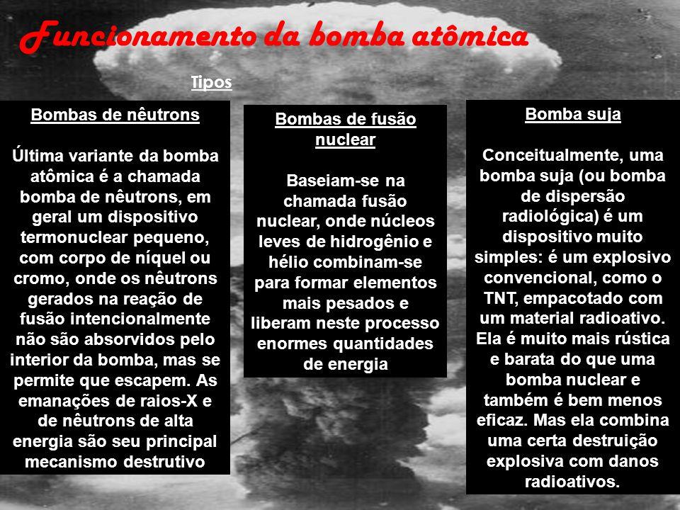 Funcionamento da bomba atômica Bombas de nêutrons Última variante da bomba atômica é a chamada bomba de nêutrons, em geral um dispositivo termonuclear