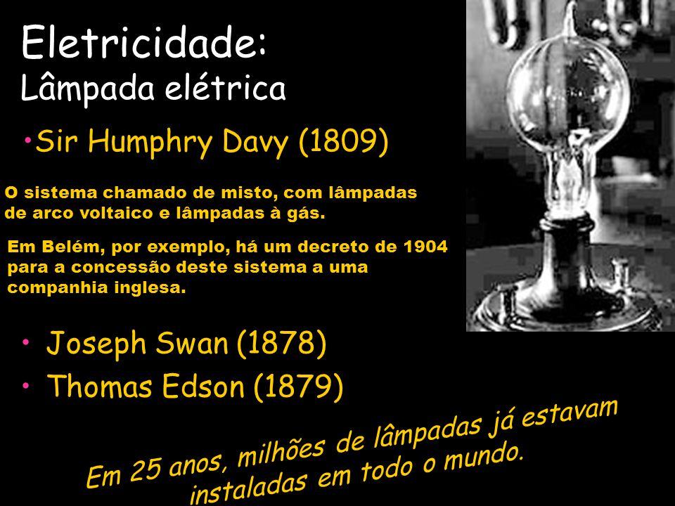 Eletricidade: Lâmpada elétrica Classificação e evolução das lâmpadas Lâmpadas de arco; Lâmpadas de filamento ou incandescentes (do latim, tornar-se qu
