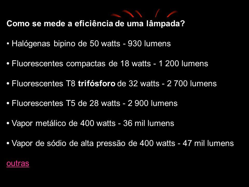 Fluxo luminoso (lúmens) Intensidade luminosa (candela): Iluminâncias lux, que equivale a um lúmen por metro quadrado. O olho humano adapta-se a grande