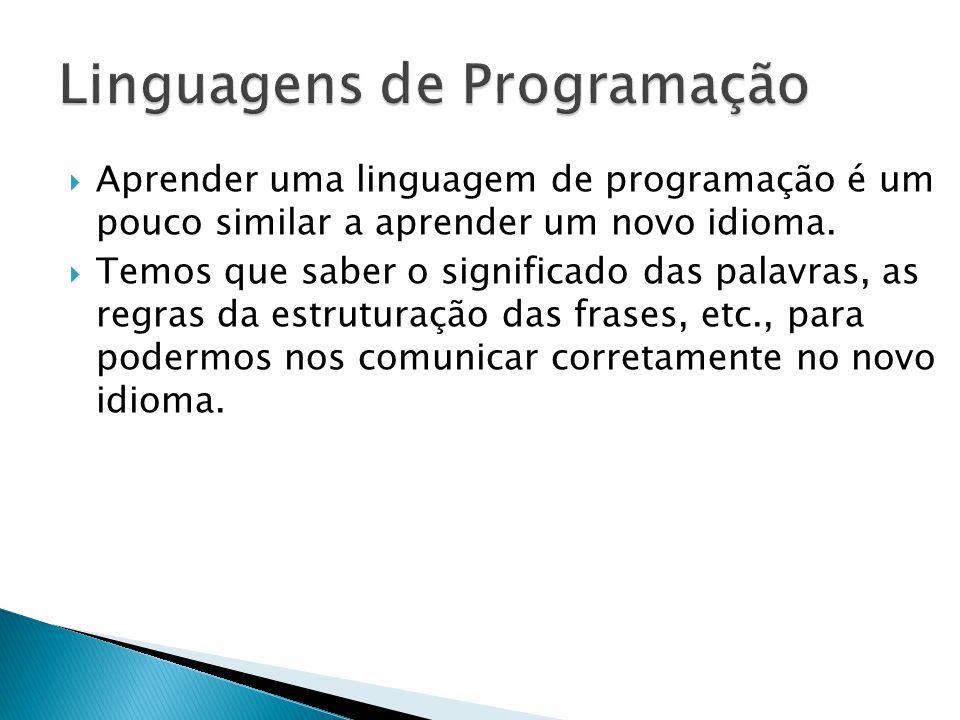 Aprender uma linguagem de programação é um pouco similar a aprender um novo idioma. Temos que saber o significado das palavras, as regras da estrutura