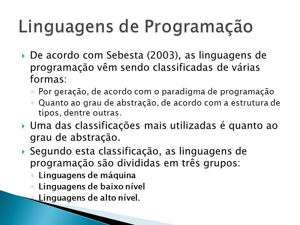 De acordo com Sebesta (2003), as linguagens de programação vêm sendo classificadas de várias formas: Por geração, de acordo com o paradigma de program
