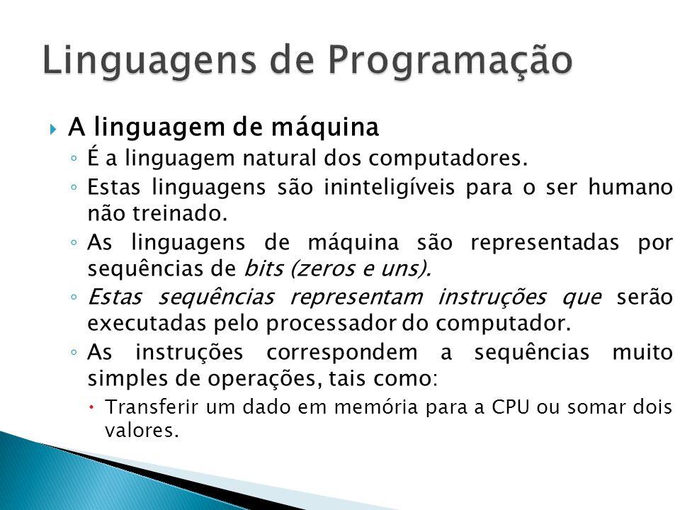 A linguagem de máquina É a linguagem natural dos computadores. Estas linguagens são ininteligíveis para o ser humano não treinado. As linguagens de má