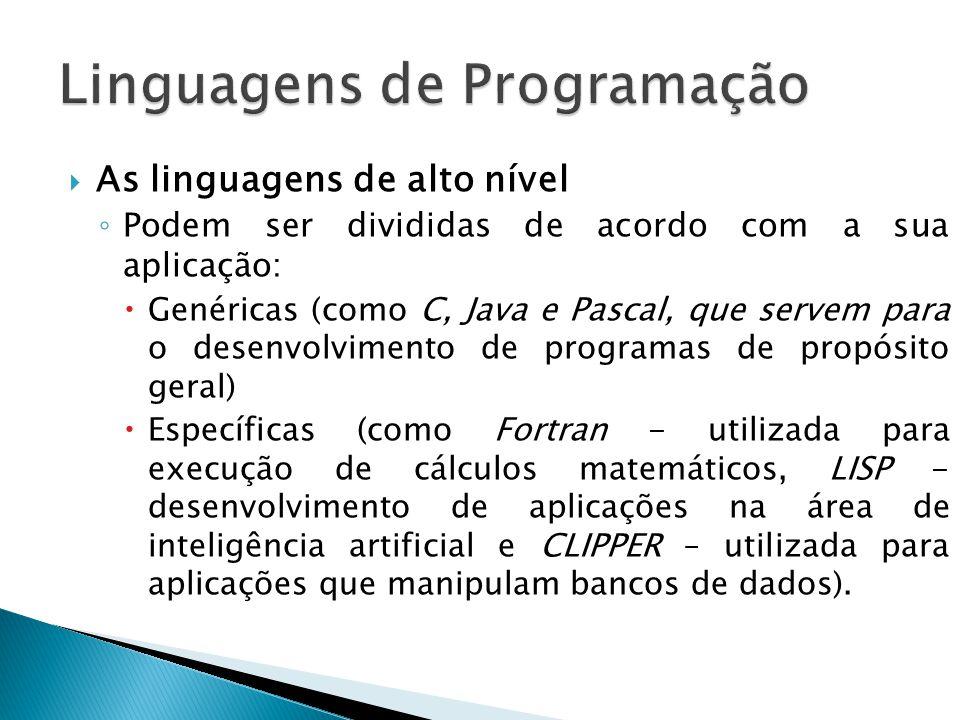 As linguagens de alto nível Podem ser divididas de acordo com a sua aplicação: Genéricas (como C, Java e Pascal, que servem para o desenvolvimento de programas de propósito geral) Específicas (como Fortran - utilizada para execução de cálculos matemáticos, LISP - desenvolvimento de aplicações na área de inteligência artificial e CLIPPER – utilizada para aplicações que manipulam bancos de dados).