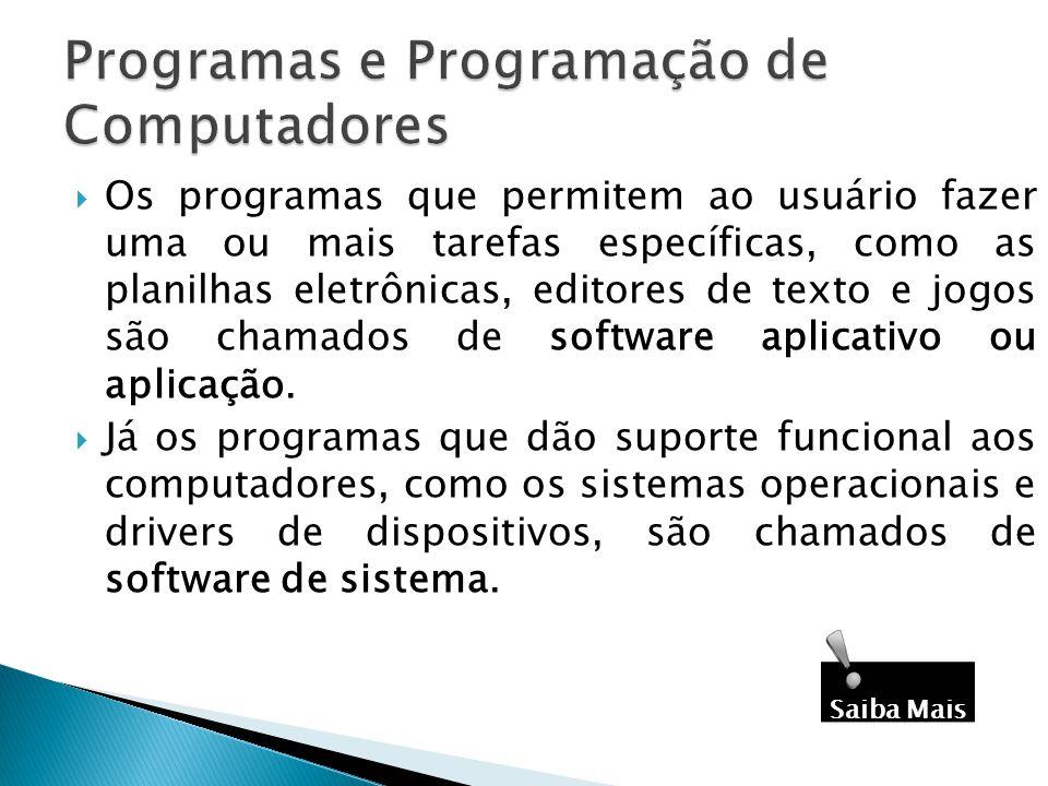 Os programas que permitem ao usuário fazer uma ou mais tarefas específicas, como as planilhas eletrônicas, editores de texto e jogos são chamados de s