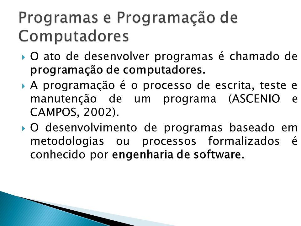 O ato de desenvolver programas é chamado de programação de computadores. A programação é o processo de escrita, teste e manutenção de um programa (ASC