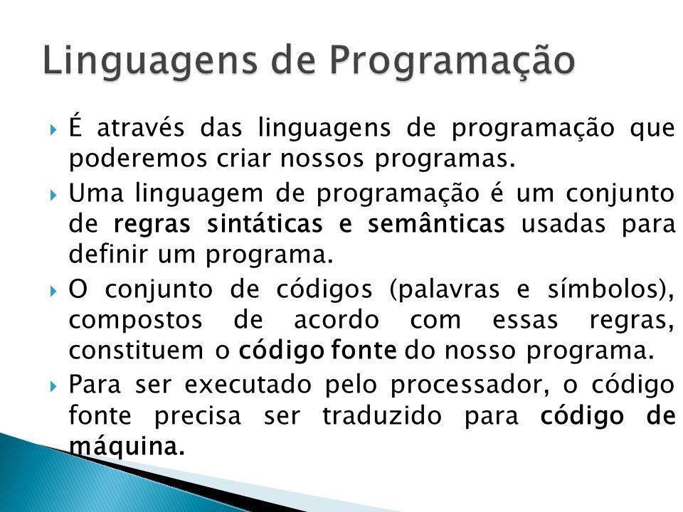 É através das linguagens de programação que poderemos criar nossos programas. Uma linguagem de programação é um conjunto de regras sintáticas e semânt