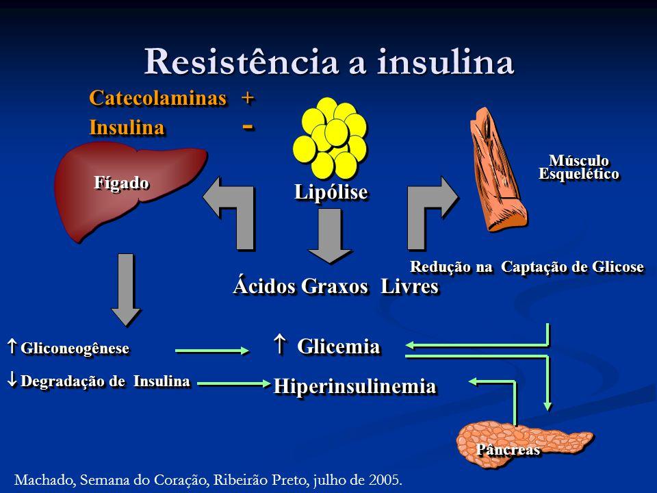 Resistência a insulina Ácidos Graxos Livres Gliconeogênese Gliconeogênese Glicemia GlicemiaHiperinsulinemia Hiperinsulinemia Redução na Captação de Gl
