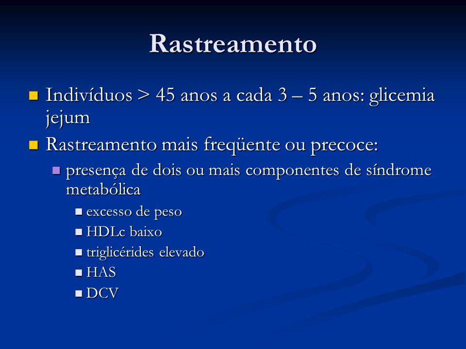 Rastreamento Indivíduos > 45 anos a cada 3 – 5 anos: glicemia jejum Indivíduos > 45 anos a cada 3 – 5 anos: glicemia jejum Rastreamento mais freqüente