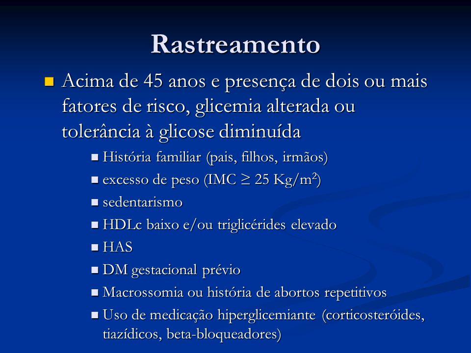 Rastreamento Acima de 45 anos e presença de dois ou mais fatores de risco, glicemia alterada ou tolerância à glicose diminuída Acima de 45 anos e pres