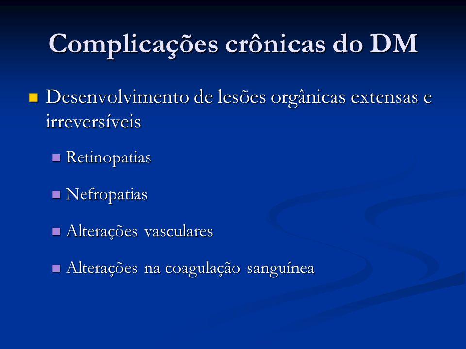 Complicações crônicas do DM Desenvolvimento de lesões orgânicas extensas e irreversíveis Desenvolvimento de lesões orgânicas extensas e irreversíveis