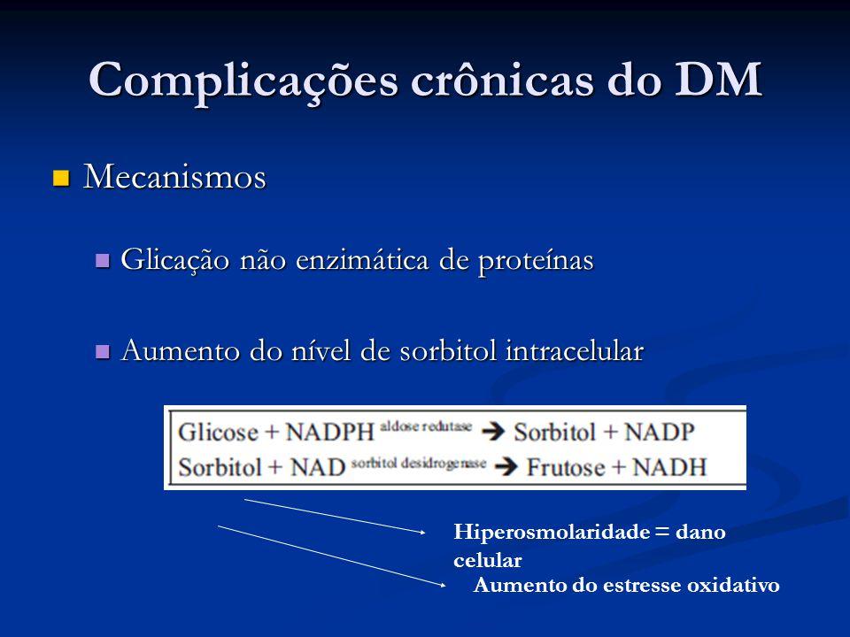 Complicações crônicas do DM Mecanismos Mecanismos Glicação não enzimática de proteínas Glicação não enzimática de proteínas Aumento do nível de sorbit