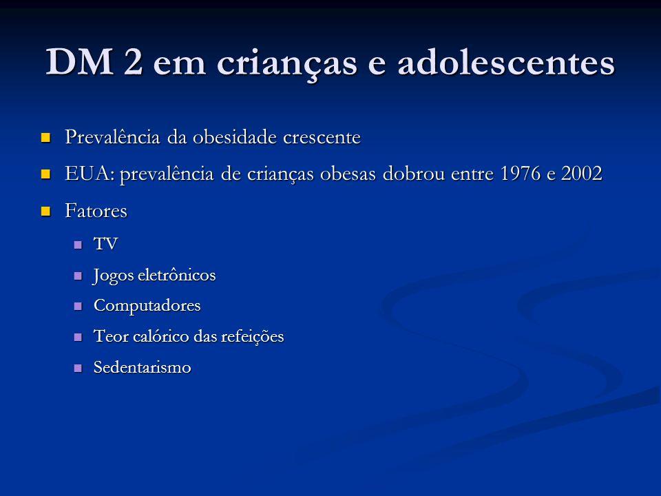 DM 2 em crianças e adolescentes Prevalência da obesidade crescente Prevalência da obesidade crescente EUA: prevalência de crianças obesas dobrou entre