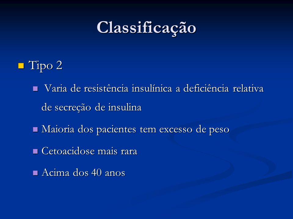 Classificação Tipo 2 Tipo 2 Varia de resistência insulínica a deficiência relativa de secreção de insulina Varia de resistência insulínica a deficiênc