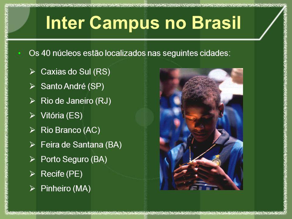 Os 40 núcleos estão localizados nas seguintes cidades: Inter Campus no Brasil Caxias do Sul (RS) Santo André (SP) Rio de Janeiro (RJ) Vitória (ES) Rio Branco (AC) Feira de Santana (BA) Porto Seguro (BA) Recife (PE) Pinheiro (MA)
