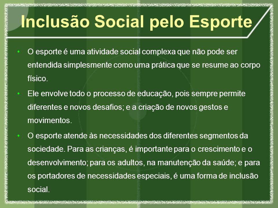 O esporte é uma atividade social complexa que não pode ser entendida simplesmente como uma prática que se resume ao corpo físico.