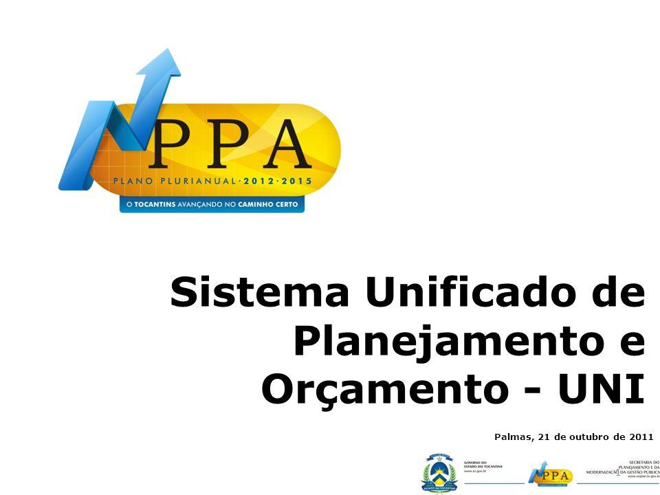 Sistema Unificado de Planejamento e Orçamento - UNI 1 Palmas, 21 de outubro de 2011