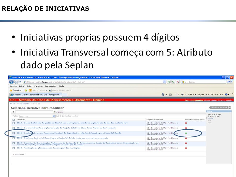 11 RELAÇÃO DE INICIATIVAS Iniciativas proprias possuem 4 dígitos Iniciativa Transversal começa com 5: Atributo dado pela Seplan