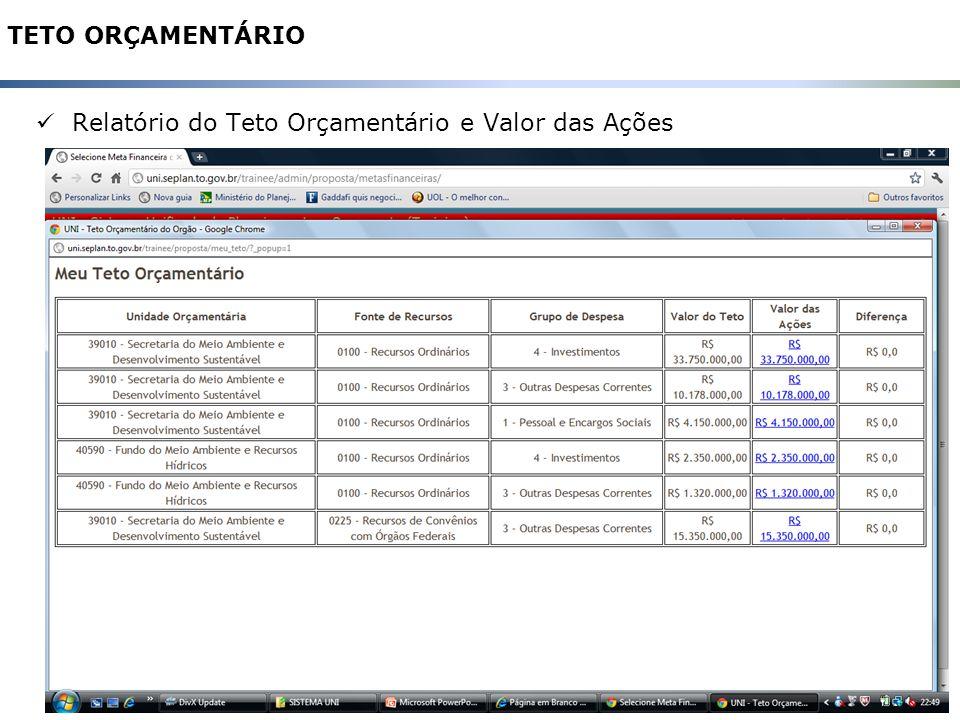 31 TETO ORÇAMENTÁRIO Relatório do Teto Orçamentário e Valor das Ações