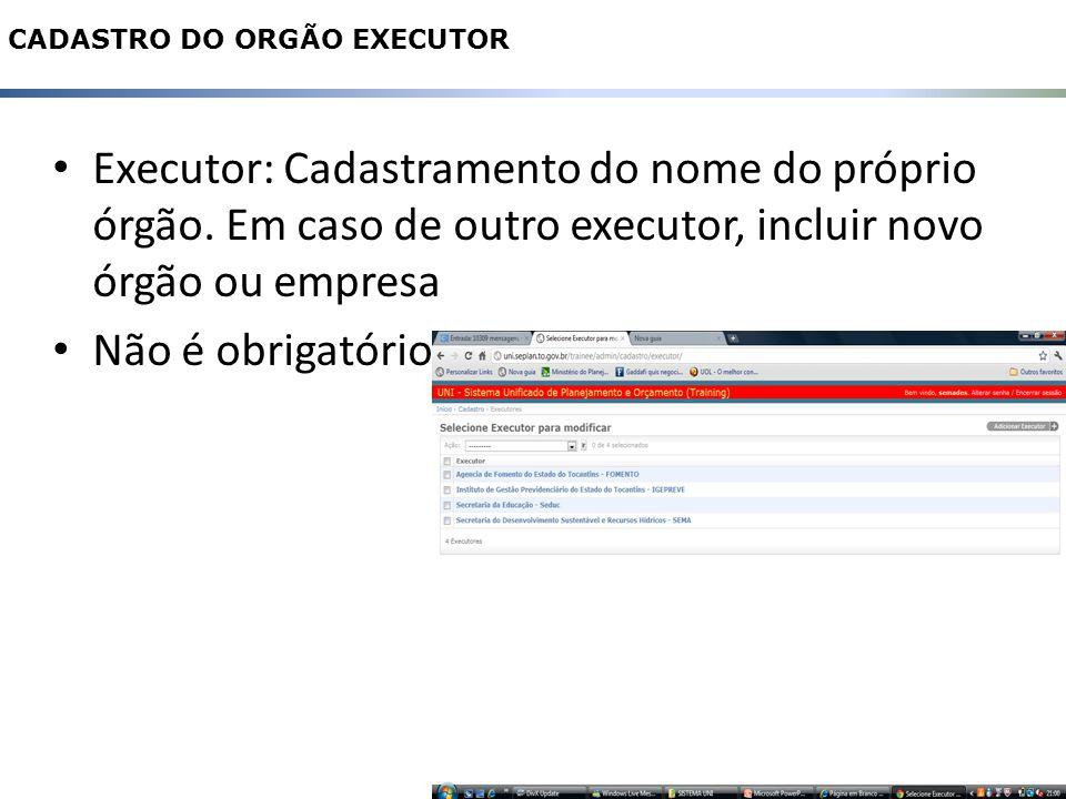 Executor: Cadastramento do nome do próprio órgão.