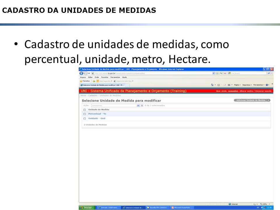 Cadastro de unidades de medidas, como percentual, unidade, metro, Hectare.