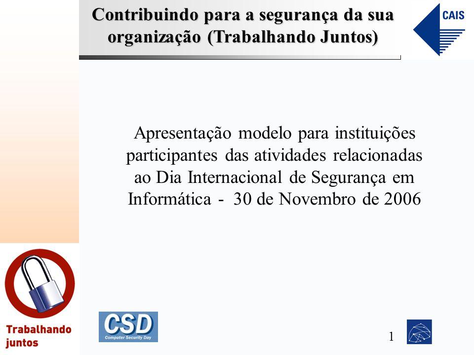 Contribuindo para a segurança da sua organização (Trabalhando Juntos) Apresentação modelo para instituições participantes das atividades relacionadas