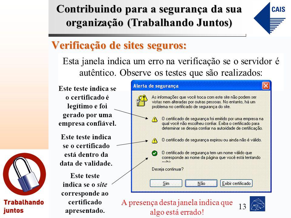Contribuindo para a segurança da sua organização (Trabalhando Juntos) Verificação de sites seguros: Esta janela indica um erro na verificação se o ser