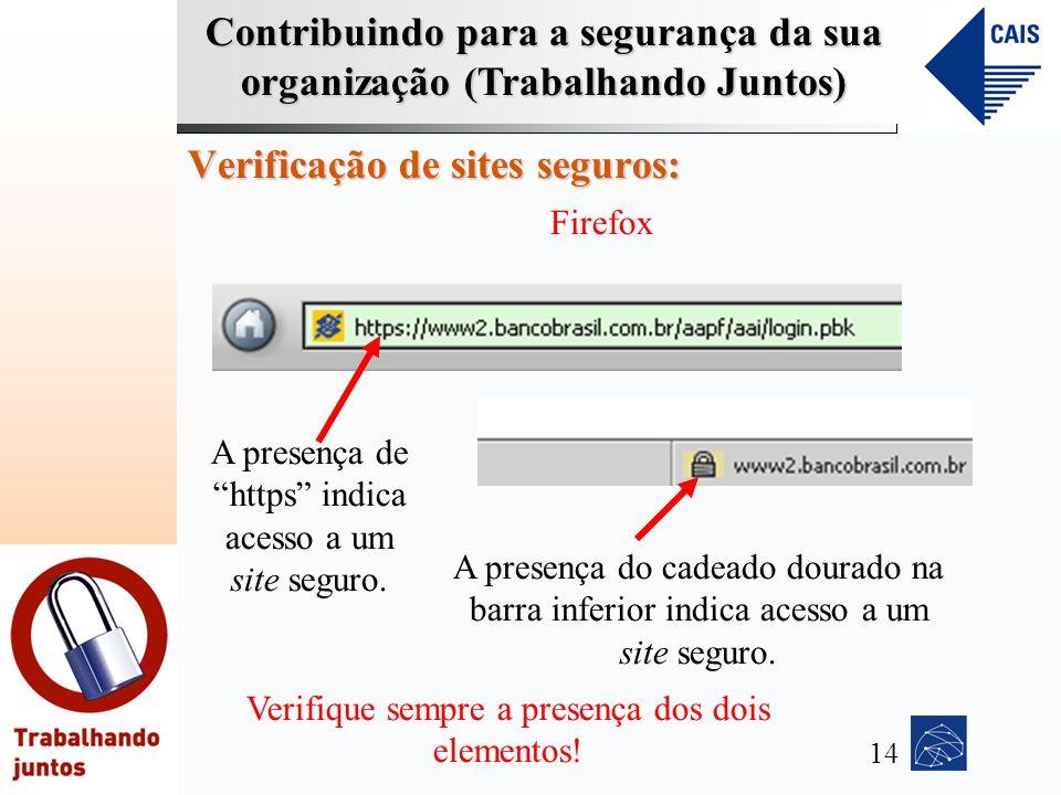 Contribuindo para a segurança da sua organização (Trabalhando Juntos) Verificação de sites seguros: Firefox A presença de https indica acesso a um sit