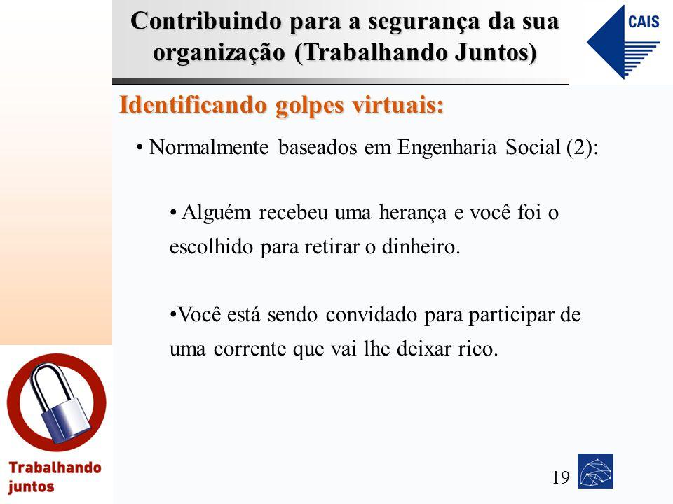 Contribuindo para a segurança da sua organização (Trabalhando Juntos) Identificando golpes virtuais: Normalmente baseados em Engenharia Social (2): Al