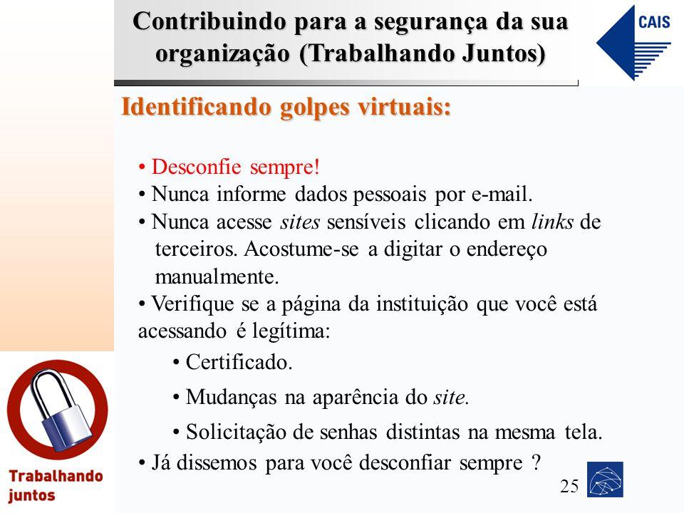 Contribuindo para a segurança da sua organização (Trabalhando Juntos) Identificando golpes virtuais: Desconfie sempre! Nunca informe dados pessoais po